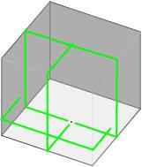 4ラインのレーザーのレーザー照射図
